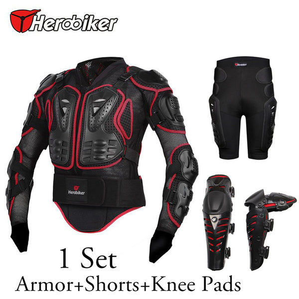 Herobiker New Motorbike/Motorcycle Body Protection Armor Jacket+Knee Pads+Off-Road Racing Protector Hip Pads Shorts
