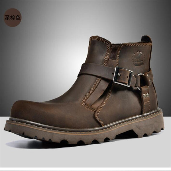 MJMOTO Men waterproof leather Motorcycle Boots Vintage motorbike protective Motorcycle boot motorcyclists street Riding shoes