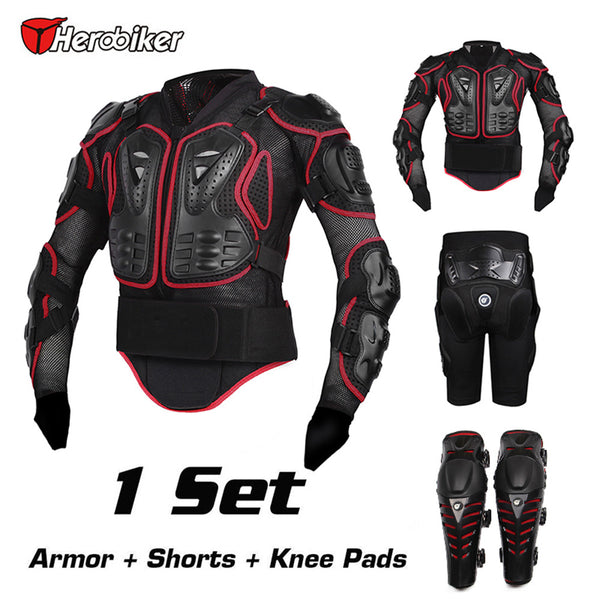 Hero Biker Motorcycle Combination Set Body Armor Jackets + Protective Kneepad + Short Pants Motocross Armor Racing Protection