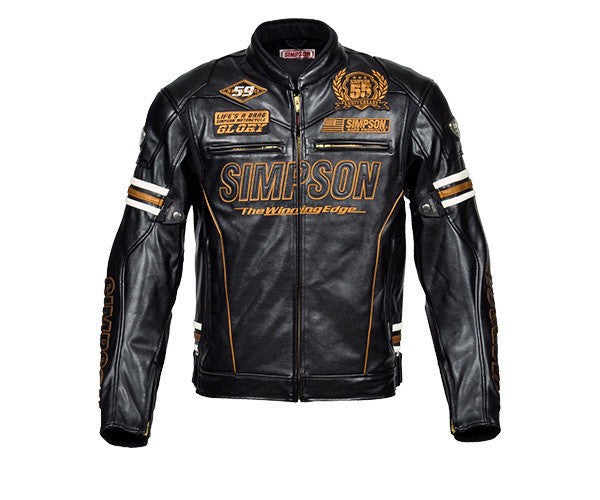 Simpson 55 anniversary PU leather motorcycle road racing jacket motorbike jacket with 5 pcs protectors motocross leather jacket - PDXMotorSport