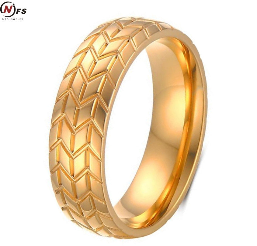 NFs 6MM Gold-Color Motorcycles Tire Biker Ring Stainless Steel Jewelry New Design Fashion Motor Biker Men Ring - PDXMotorSport