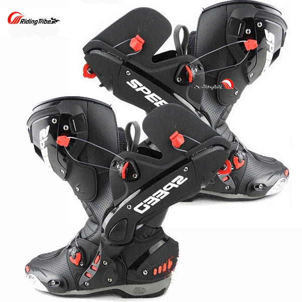 Riding Tribe Upgrade Motorcycle Boot Pro Racing Opening Boots Professional Riding Non-slip Mircrofiber Leather boots boats