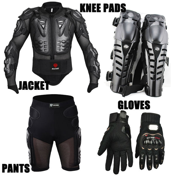 4PCS Motorcycle Racing Motorcross Riding Body Armor Protective Jacket+ Gears Short Pants+Motorcycle Knee Protector+Moto gloves