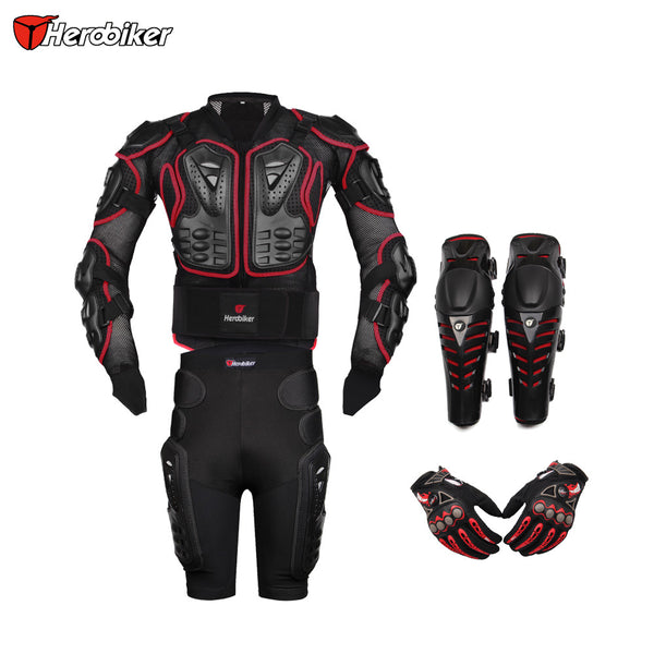 HEROBIKER Red Motorcross Racing Motorcycle Body Armor Protective Jacket+ Gears Short Pants + Protective Motorcycle Knee Pad+Gloves