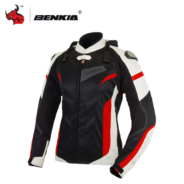 BENKIA Black Motorcycle Racing Jackets Women Motocross Riding Protective Jersey Moto Jacket Suitable For Spring Summer Autumn