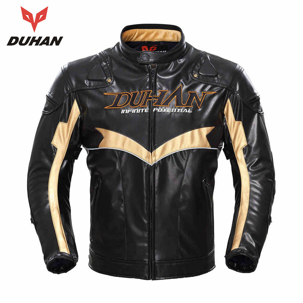 New Duhan Motorcycle Riding Clothes Anti-drop Slim Men's Wagon Moto Jacket Autumn Winter PU Leather Motorbike Cotton Jacket - PDXMotorSport