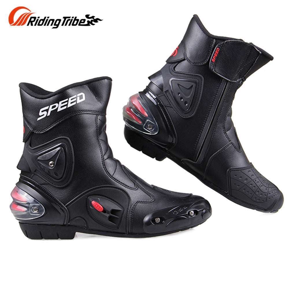 Riding Tribe Windproof Leather Middle Cylinder Motorcycle Boots Knight Riding Shoes Motorcycle Riding Shoes Motor Boots - PDXMotorSport