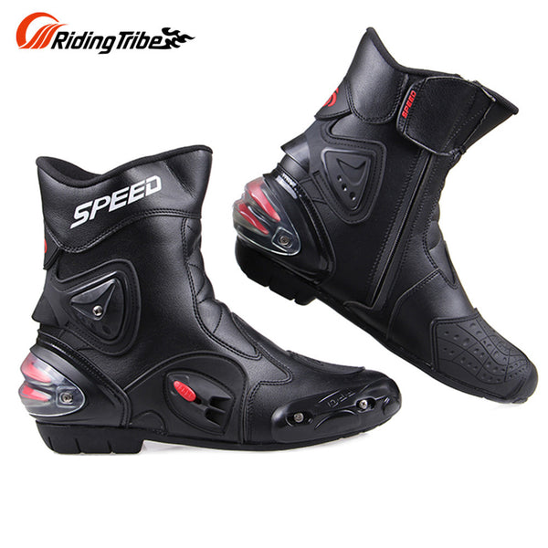 Riding Tribe Windproof Leather Middle Cylinder Motorcycle Boots Knight Riding Shoes Motorcycle Riding Shoes Motor Boots