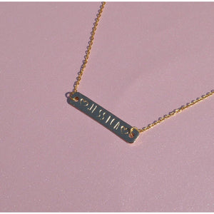 Personalized Engraved Bar Necklace with Heart Symbols - Coco's Kloset