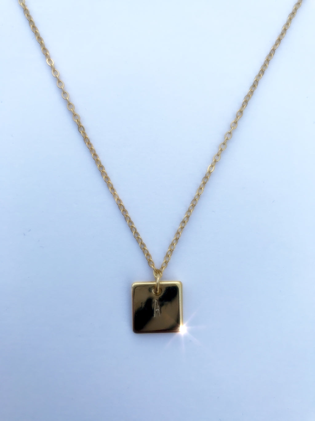 Gold Square Pendant Initial Necklace - Coco's Kloset