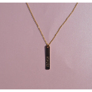 Vertical Personalized Engraved Bar Necklace - Coco's Kloset