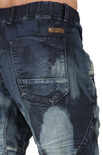 "Dark Blue Clouded Wash Premium Knit Denim Jogger Capri Short, Rib Bottom 3D Whiskering 18"" Inseam"