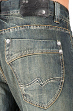 Relaxed Straight Faded Rustic Tinting Premium Denim Signature 5 Pocket Jeans Hand Rub
