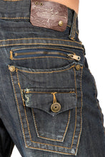 Men's Relaxed Bootcut Dark Vintage Premium Denim Jean Zipper Back Pockets