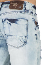 "Relaxed Midrise Bleached Blue Cut Off Premium Denim 13"" Shorts Destroyed & Mended"