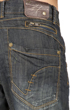 Relaxed Straight Dark Vintage Hand Rub Premium Denim Jeans Zipper Trim Pocket