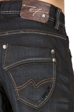 Men's Relaxed Bootcut Black Premium Denim 5 Pocket Jeans Black Overspray Coating