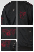Men's Black Poly Performance Full Zip Track Jacket With Burgundy Embroidery Patches & Epaulets