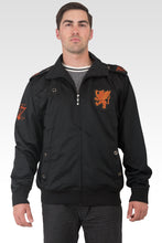 Men's Black Poly Performance Full Zip Track Jacket With Cinnamon Embroidery Patches & Epaulets