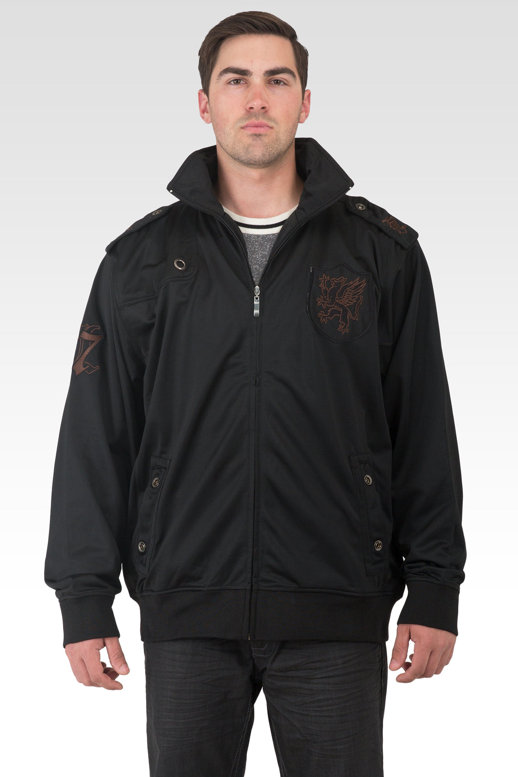 Men's Black Poly Performance Full Zip Track Jacket With Brown Embroidery Patches