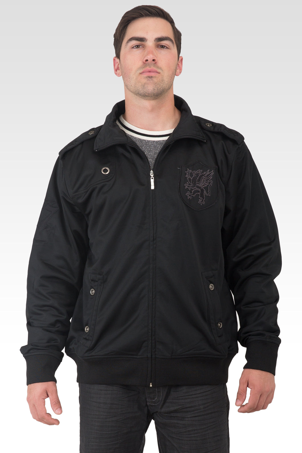 Men's Black Poly Performance Full Zip Track Jacket With Black EMB Patches