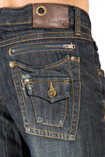 Men's Relaxed Bootcut Dark Vintage Premium Denim Jean Zipper Trim Back Pocket