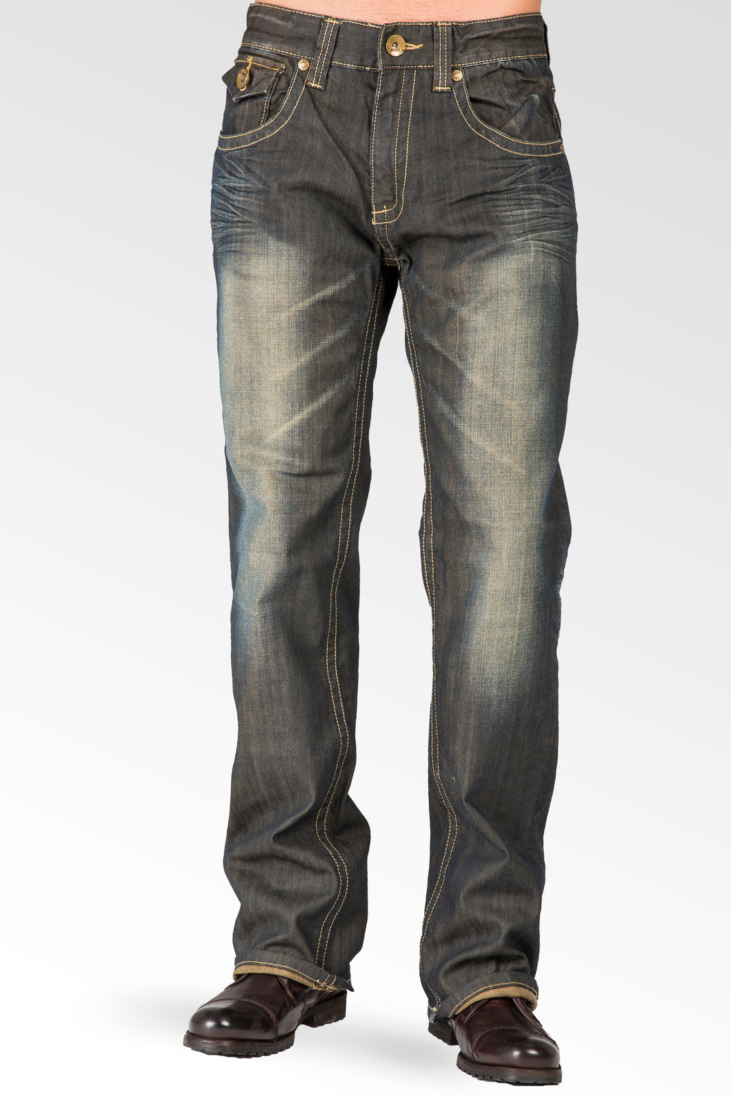 Relaxed Bootcut Dark Tinted Premium Denim Jeans Zipper Trim & Utility Back Pocket