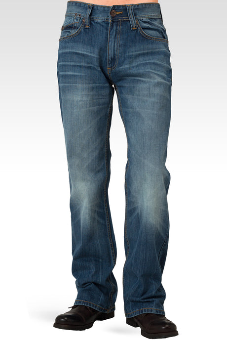 Midrise Relaxed Bootcut Medium Blue Premium Denim 5 pocket Jeans with Vintage Wash Whiskering
