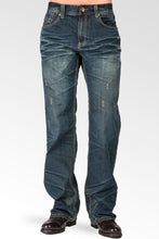 Midrise Relaxed Bootcut Blue Premium Denim 5 pocket Jeans Vintage Wash & Whiskering