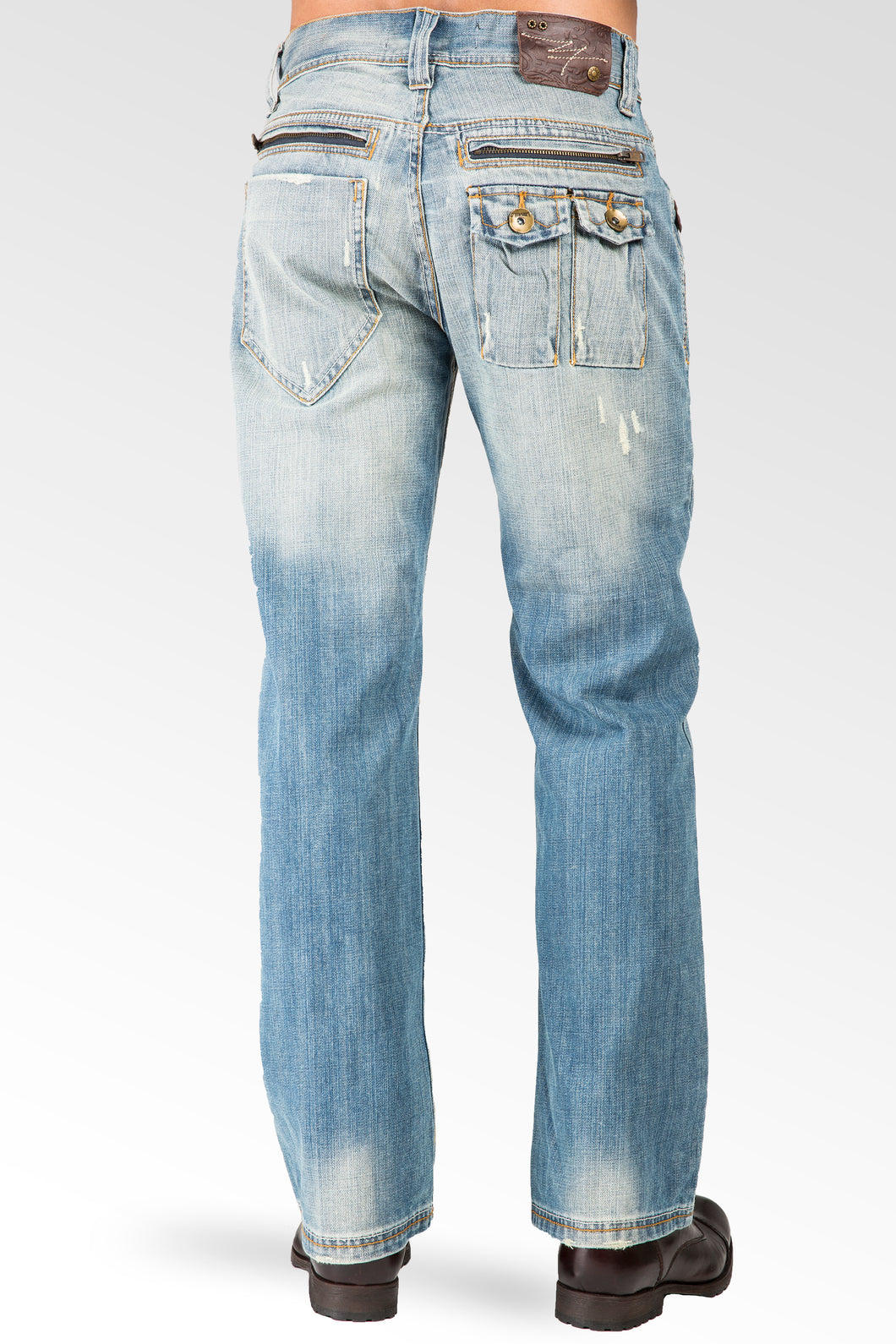 58fa7008377 ... Men's Relaxed Bootcut Premium Denim Light blue Distressed Jean Zipper  Utility Pocket ...