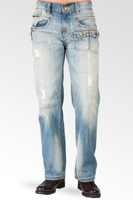 Men's Relaxed Bootcut Premium Denim Light blue Distressed Jean Zipper Utility Pocket