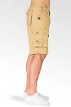 Tan Timber Canvas Relaxed Fit Midrise Shorts With Utility Pockets