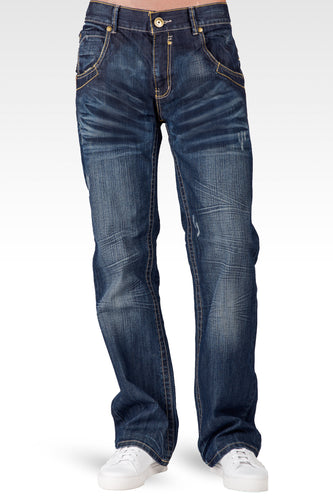 Men's Relaxed Bootcut Premium Denim Medium Blue Distressed Jean Zipper Utility Pocket - Blue Man