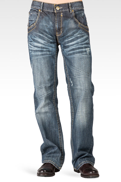Men's Relaxed Bootcut Premium Denim Medium Blue Distressed Jean Zipper Utility Pocket