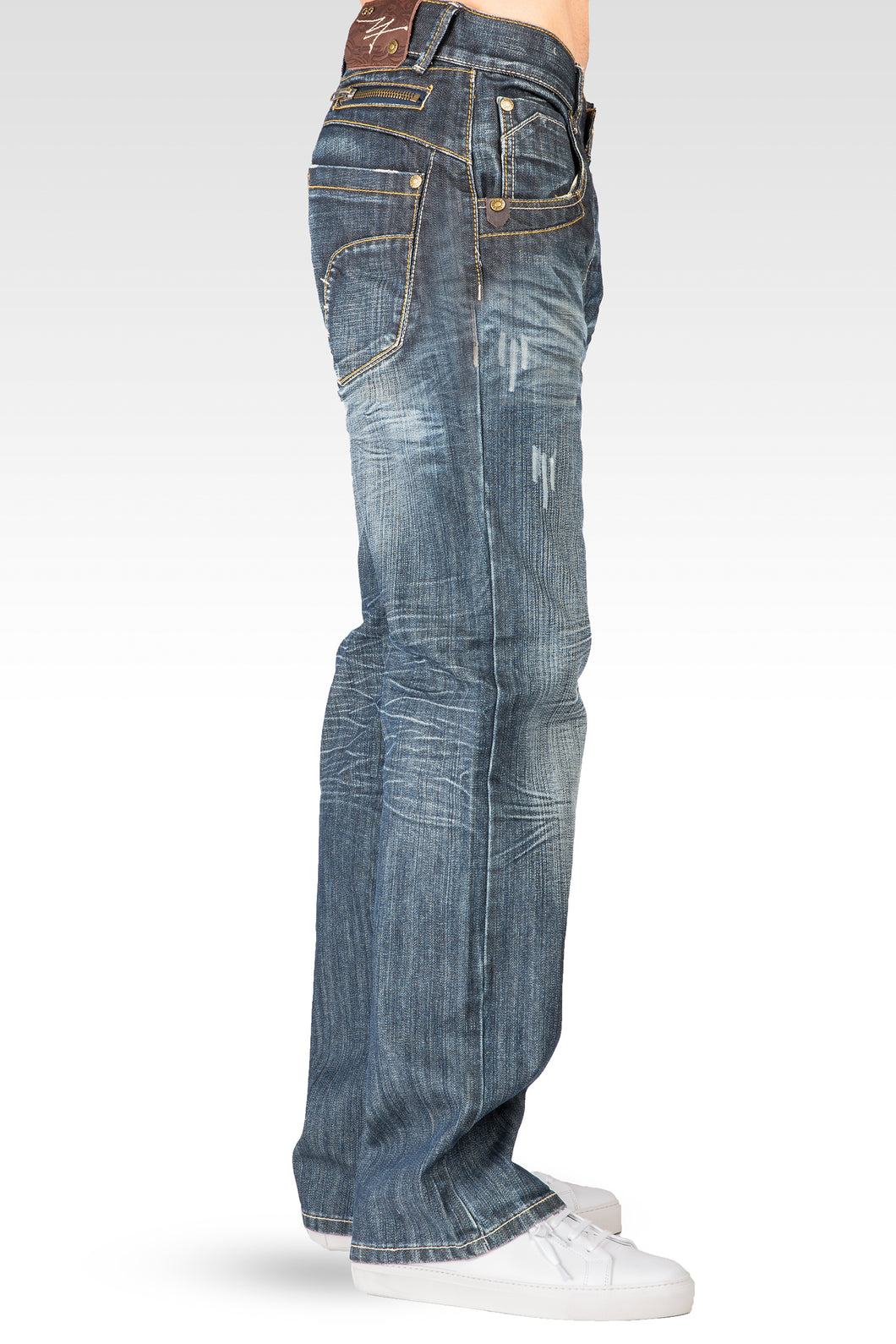 0fd59a9c44d ... Relaxed Bootcut Premium Denim Distressed Jean Zipper Utility Pocket ...