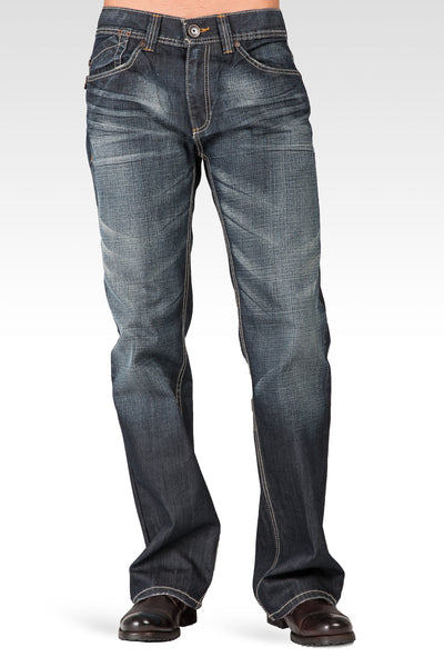 Midrise Relaxed Bootcut Faded Blue-Black Premium Denim 5 Pocket Jeans Blizzard Whiskering