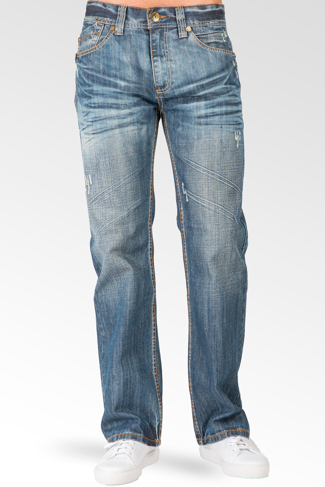 Midrise Relax Bootcut Premium Denim Signature 5-Pocket Jeans Whiskering Scratching