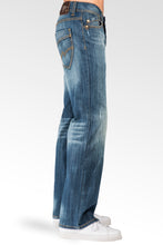 Men's Midrise Relaxed Bootcut Ghost Rider Premium Denim 5 Pocket Jeans Veining & whiskering