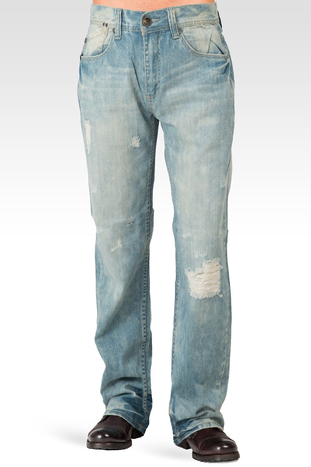 Midrise Relaxed Bootcut Light Blue Whiskering Denim Jeans