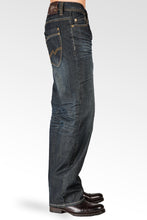 Midrise Relaxed Bootcut Vintage Dark Hand Rub Premium Denim 5 Pocket Jeans Whiskering