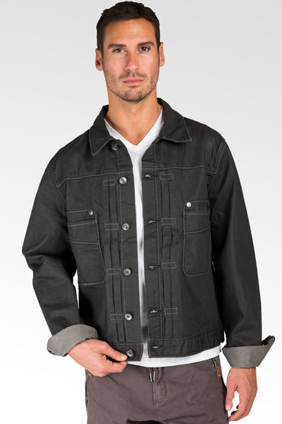 Espresso Coated Dark Gray Premium Denim Trucker Jacket Rugged Retro Wash