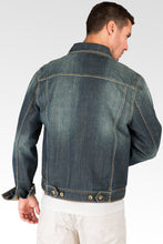 Vintage Blue Premium Denim Trucker Jacket With Artisan Whiskers Detail