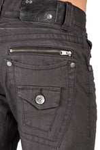Black Premium Coated Denim Relaxed Straight Jeans Throwback Style Zipper Trim Pockets