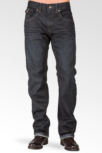 Relaxed Straight Dark Indigo Premium Denim Zip Pocket Jean With Overspray Coating