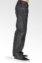 Midrise Relaxed Straight Leg Black Whisker Coating Premium Denim Jeans Zip Back pocket