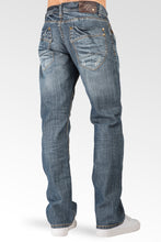 Relaxed Straight Medium Blue Distressed Premium Denim Signature 5 Pocket Jeans Whiskering