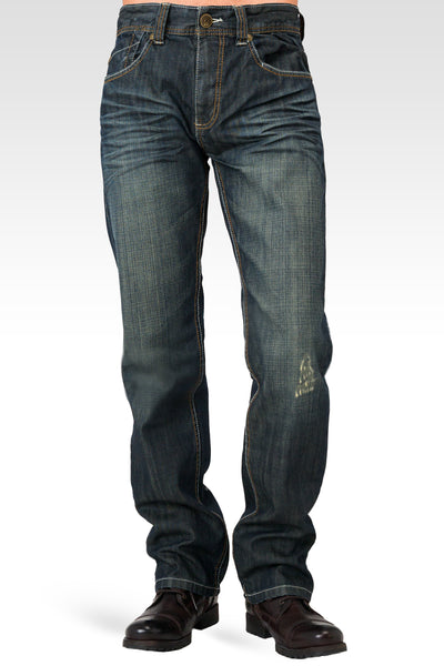 Men's Relaxed Straight Signature Stone Wash Dark Blue Distressed Premium Denim Jeans