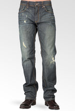 Relaxed Straight Vintage Premium Denim Distressed Signature 5 Pocket Jeans Whiskering