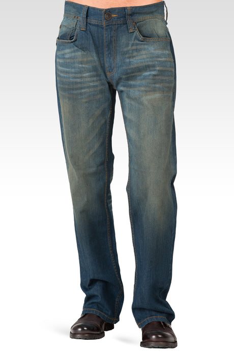 Men's Midrise Relaxed Bootcut Medium Blue Premium Vintage Wash Jeans