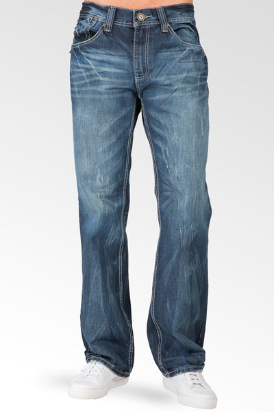 Buckeroo Relaxed Straight Premium Denim signature 5 pocket Jeans Whiskering Scratching